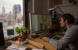 Alberto Fernandez(español), animador digital e ilustrador, trabajando en una de las páginas para la aplicación.